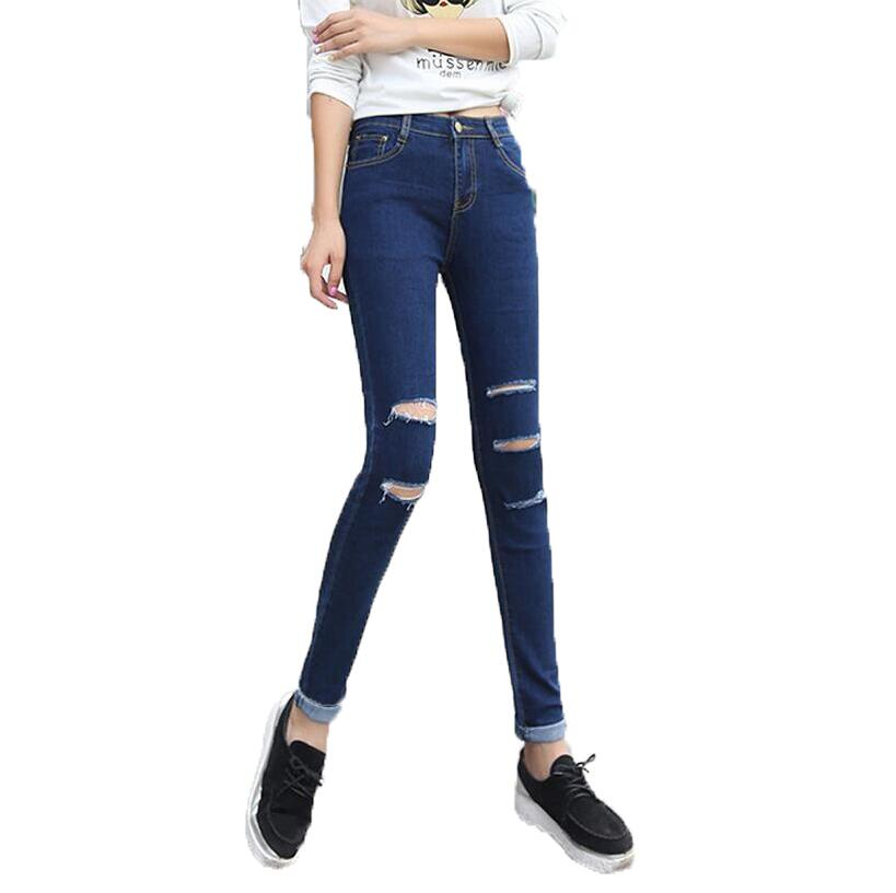 2017 Cotton High Elastic Jeans Woman Skinny Hole Pencil Pants Slim Ripped High Waist Jeans for