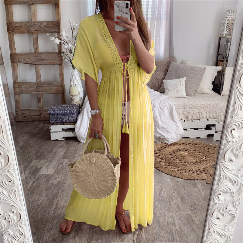 Women's Summer Chiffon Bikini Cover Up Long Ruffles Sleeves Swimwear Solid Color Bathing Suit New Sexy Sunscreen Beach Dress Hot