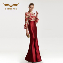 CONIEFOX 31835 red mermaid Fashion sexy Ladies Retro elegance Appliques prom dresses party evening dress gown