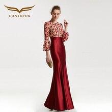 CONIEFOX 31835 red sirena Moda sexy Ladies Retro elegance Apliques prom vestidos de partido vestido de noche largo 2017 NUEVO