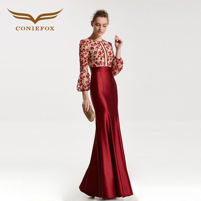 CONIEFOX 31835 red mermaid Fashion sexy Ladies Retro elegance Appliques prom dresses party evening dress gown long 2017 NEW