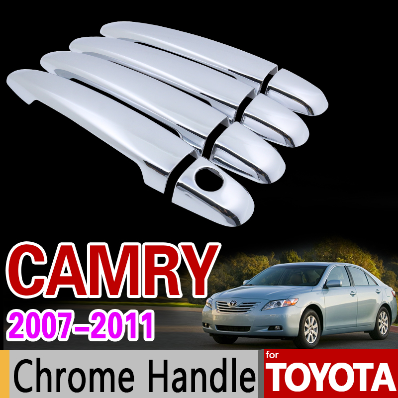 for Toyota Camry 2007 - 2011 XV40 Chrome Handle Cover Trim Set for Daihatsu Altis Aurion 2008 2009 2010 Accessories Car Styling special car trunk mats for toyota all models corolla camry rav4 auris prius yalis avensis 2014 accessories car styling auto