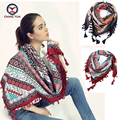 2016 hot sale fashion woman 110*110cm Scarf cotton and linen big square scarves short tassel flowers Women Winter lady shawls