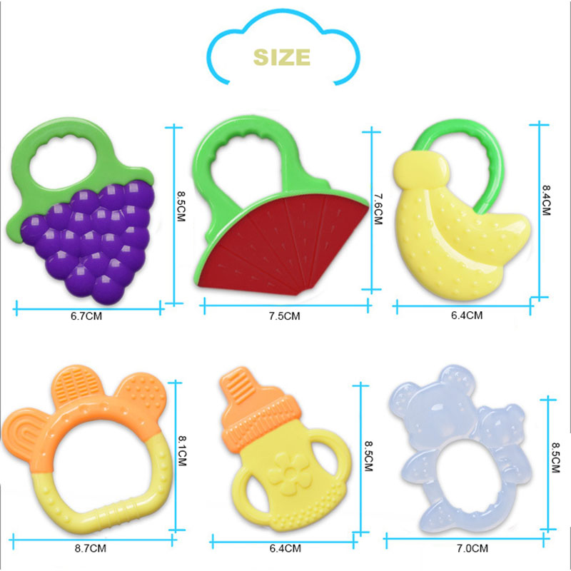 Newborn 7 styles Cute Baby Teether Toy novel Fruit Design Easy to grasp Teether Toys Massage gums Gift for Newborn Baby