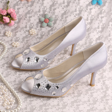 Wedopus Custom Handmade Your Logo Brand Women Shoes Silver Bridesmaid Wedding Shoes Size 40
