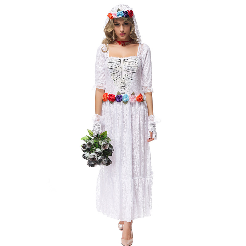 Halloween party women costume Gothic Vampire Ghost Bride Costumes For Women  lace  white Zombie dress Cosplay Adult Funny Dress