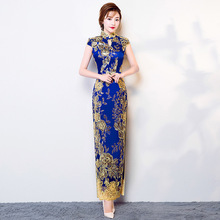 d9eddb696aba Μακρύ παραδοσιακό κινεζικό φόρεμα Cheongsam μοντέρνα Qipao 2017 μόδα μπλε  δαντέλα Vestido ανατολίτικα στυλ .