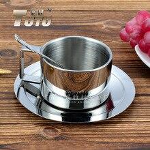 HOT Klassischen edelstahl kaffeetasse drei stücke doppelschicht wärmedämmung Kaffeetasse Tasse Untertasse Set Kaffeetasse Set