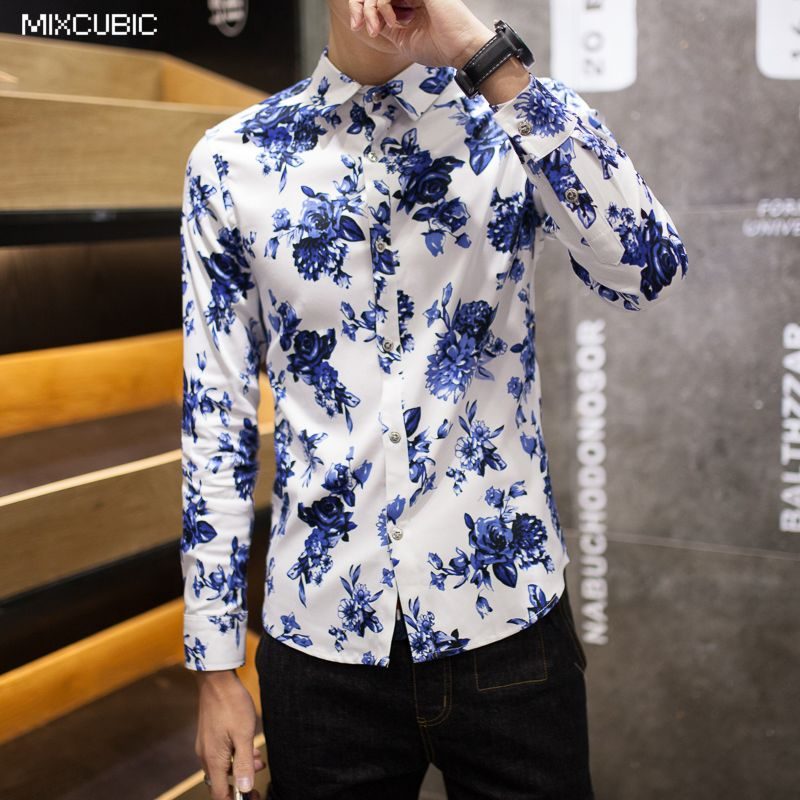Mixcubic spring college style washing blue flower printed for Blue floral shirt mens