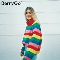 BerryGo Fashion batwing sleeve rainbow sweater Elegant women pullovers 2018 winter autumn turtleneck cute knitted jumper outwear