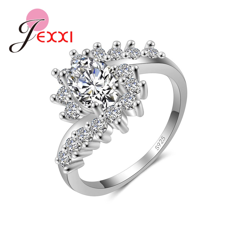 Fashion Ripple 925 Sterling Silver Europe  America New Drop Shape Crystal Zircon Ring Jewelry Small Crystal