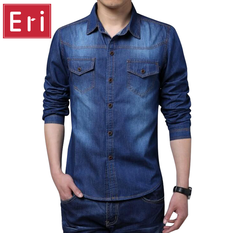 New Plus Size Denim Men Shirt 5XL Cotton Brand Clothing Jeans Camisa Social Masculina Long Sleeve Shirts Slim Chemise Homme X461