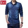 New plus size clothing denim camisa dos homens marca de algodão 5xl calças de brim Camisa Masculina Sociais Chemise Homme Camisas de Manga Longa Fino X461