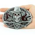 High Quality Buckles Western Ghost Skeleton Skull Guns Men's Belts Buckles Men Cowboy Free Shipping