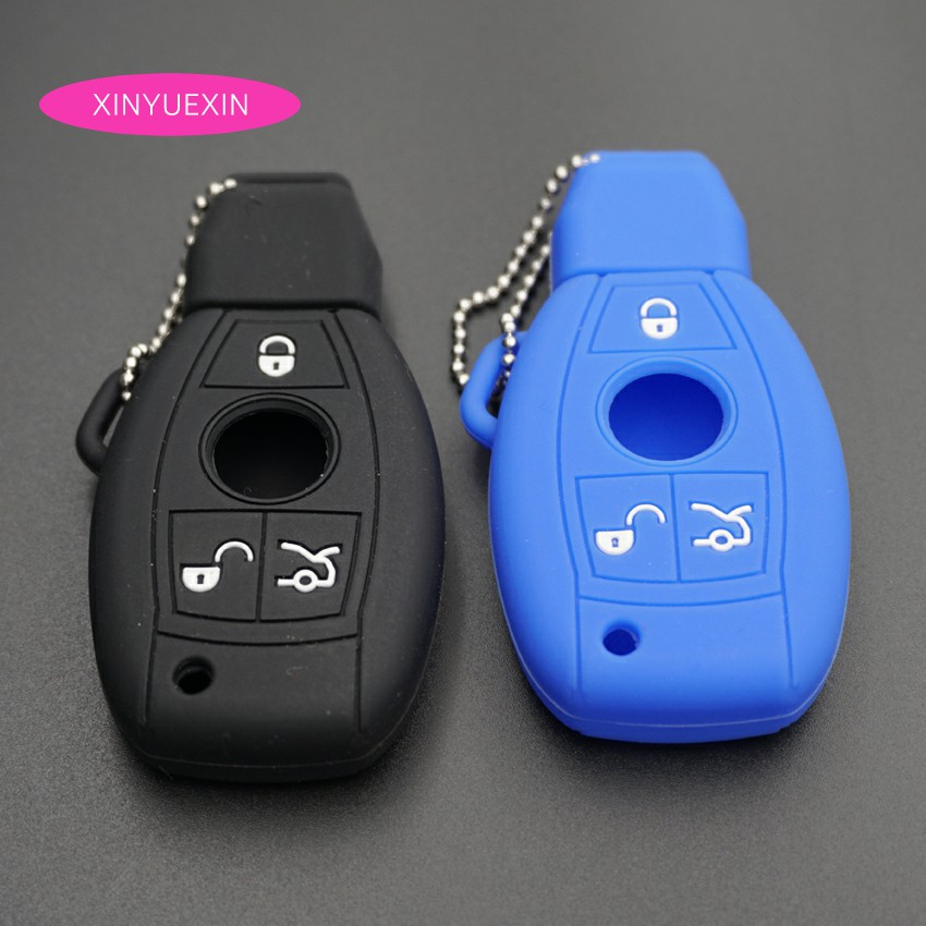 Xinyuexin Silicone Car Key Cover FOB Case For Benz C E S CL GL ML Smart Remote Key Fob Shell Jacket Bag Car-styling 3Buttons