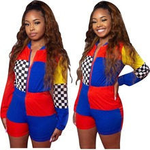 INMOTENG Mixed Color Plaid Printed Patchwork Fashion Women Skinny Romper Long Sleeve Zip Me Up Bodycon Perfect Club Wear