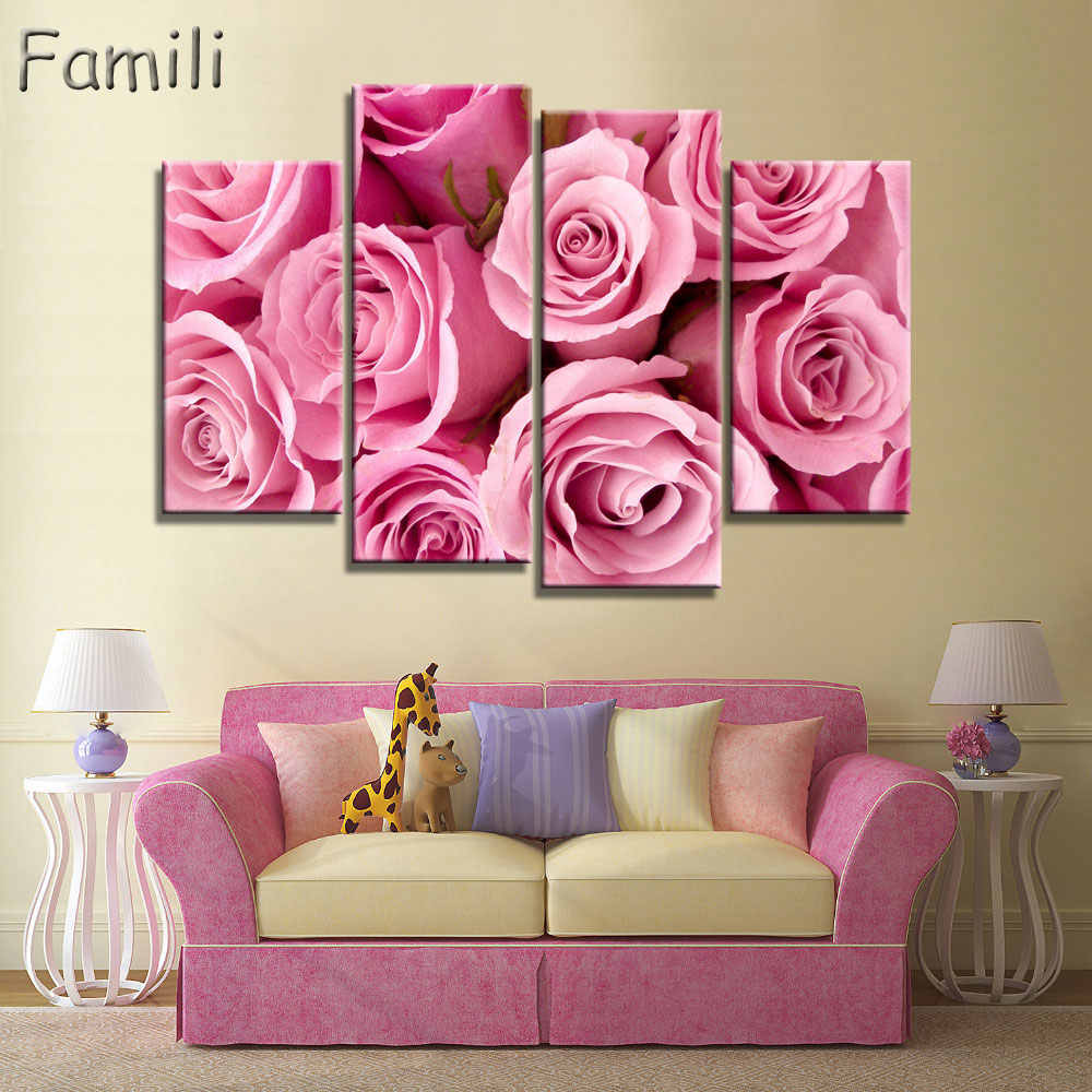 4pcs No Frame Orchid Wall Painting Flower Canvas Painting Home Decoration Pictures Wall Pictures For Living Room Modular Picture