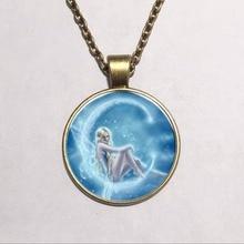 Fairy Elf pingente de colar Vintage moda acessórios de Bronze vidro cabochão colar declaração de cadeia para mulheres