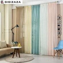Tul blanco Japón voile voile cortinas para sala dormitorio personalizado cortina transparente ventana de tracción pura plisado cinta rosa