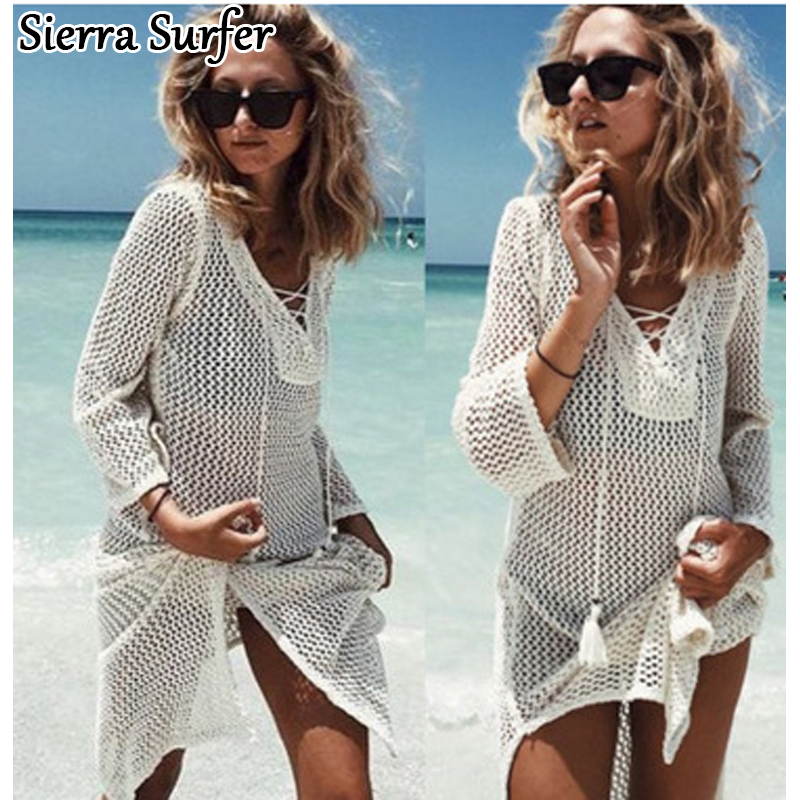 Saida De Praia verano Beach Wear vestido tunica Pareos para mujer 2018 falda Knitting Hollow vendaje Longa Kaftan Beach Cover arriba