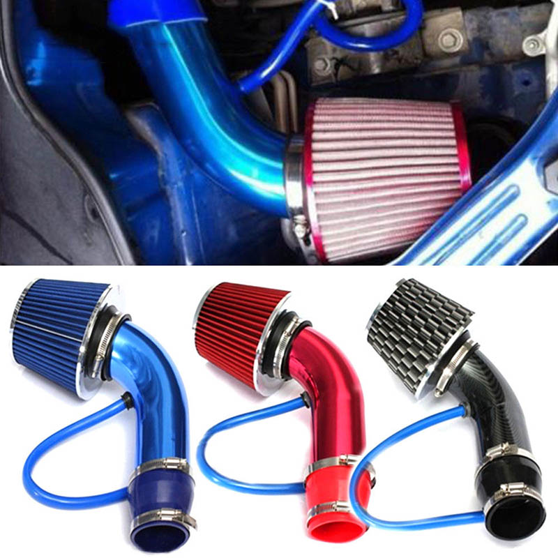 Universal Car Alumimum 3'' 75mm Car Cold Air Intake System Turbo Induction Pipe Tube+Cone Air Filter JLD