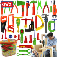 QWZ Baby Educational Toys Tool Kit Children Play House Classic Plastic Toy Kids Tools Hammer Toolbox Simulation Toys Kids Gifts(China)
