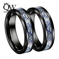 Queenwish Black Slivering Celtic Dragon Tungsten Carbide Ring Mens Jewelry Irish Matching Celtic Wedding Bands