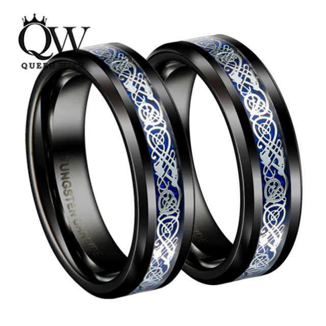 Queenwish Mens Jewelry Black Slivering Celtic Knot Tungsten Carbide Ring Irish Matching Wedding Bands
