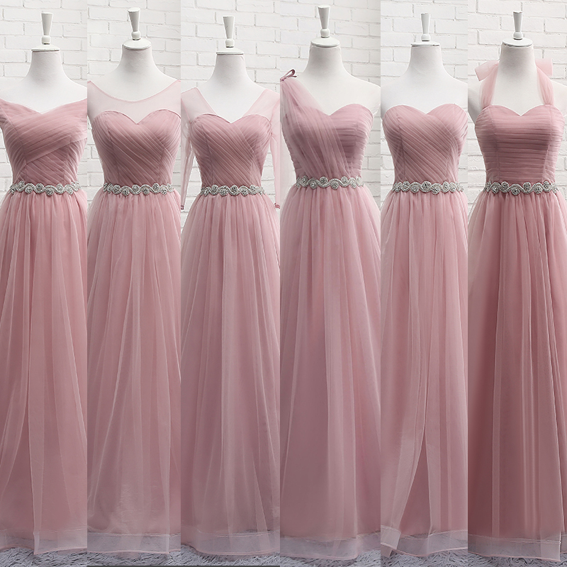 Robe De Soriee New Pink Bridesmaid Dresses Floor-length Sexy Sweetheart Crystal Waist Pleat Bride Banquet Elegant Party Gown