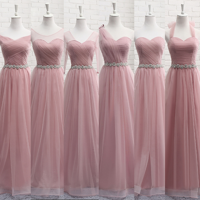 37a58e4efbb Robe De Soriee New Pink Bridesmaid Dresses Floor-length Sexy Sweetheart  Crystal Waist Pleat Bride Banquet Elegant Party Gown
