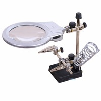 2X 85mm Zoom Magnifying Glass with 2 LED Third Hand Auxiliary Clamp Fresnel Lens welding Soldering Stand Magnifier