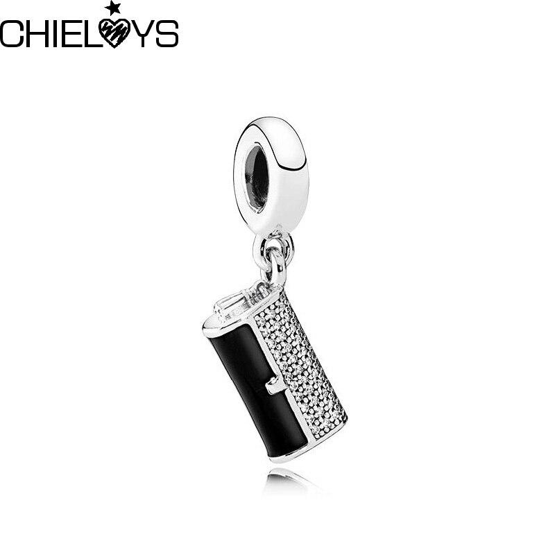 CHIELOYS 2pcs/lot Fashion Black Enamel Charm Pendant Fit Original Pandora Charm Bracelet Authentic Luxury Jewelry BE051