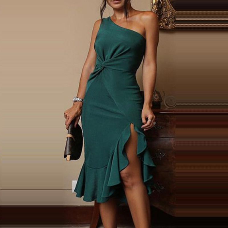 U-SWEAR Sexy Womens One Shoulder Ruffles Split Evening Party Dress Green Backless Knee Length Dress Solid Cotton Blend Dress