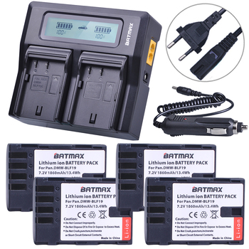 4Pcs 1860MaH DMW-BLF19 DMW-BLF19E DMW-BLF19PP BLF19 BLF19E Battery+ Fast LCD Dual Charger for Panasonic Lumix GH3 GH4 GH5 G9