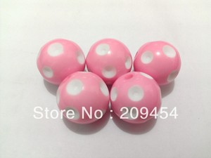 Image 1 - Factory Price!20mm 100pcs/lot Pink Acrylic Polka Dot Beads,Chunky Beads For Jewelry Making
