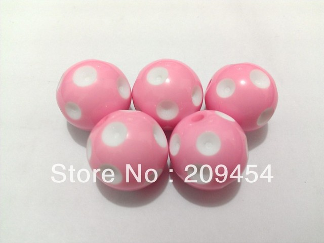 Factory Price!20mm 100pcs/lot Pink Acrylic Polka Dot Beads,Chunky Beads For Jewelry Making