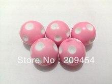Prix dusine! 20mm 100 pcs/lot perles à pois acryliques roses, perles épaisses pour la fabrication de bijoux