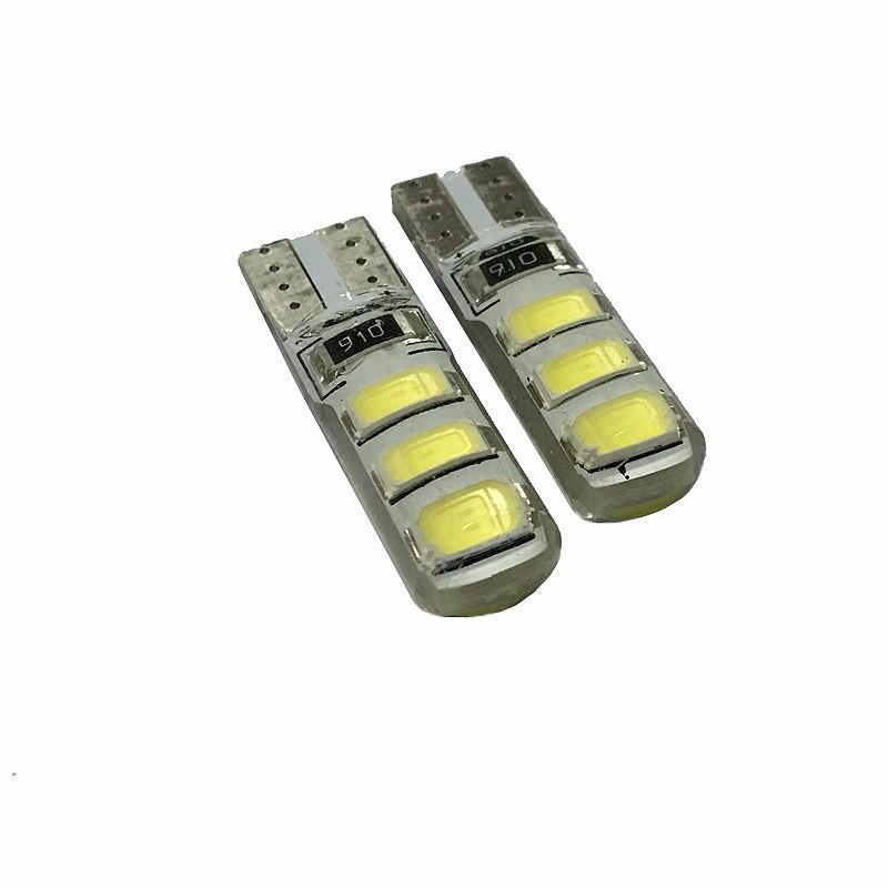 Prix pour 50 pcs Étanche T10 led ampoule W5W 5630 6Led Voiture Led Lumière CANBUS 6SMD 5730 t10 silicone w5w Allumer la lumière N ° License plate