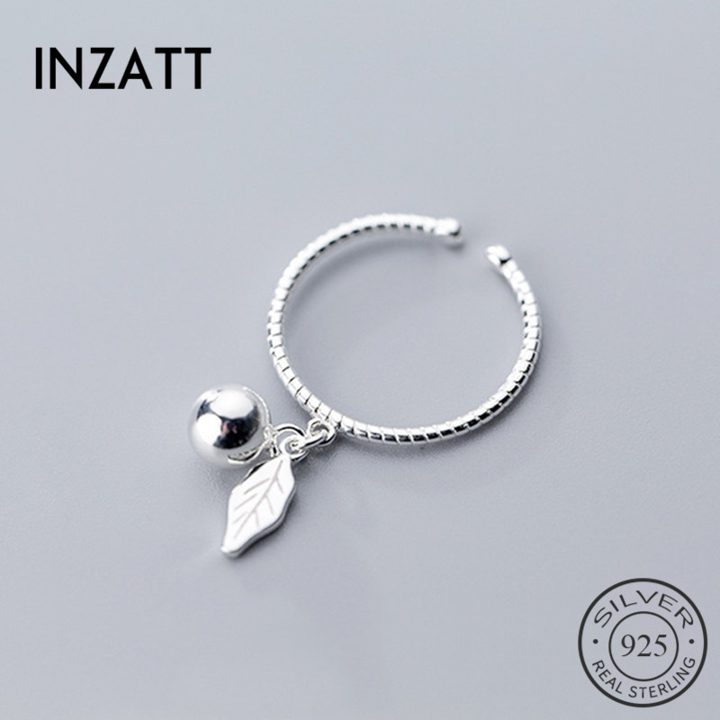 INZATT Real 925 Sterling Silver Minimalist Opening Pendant Ring Light Bead Leaves For Women Party Fine Jewelry 2019 Cute Gift