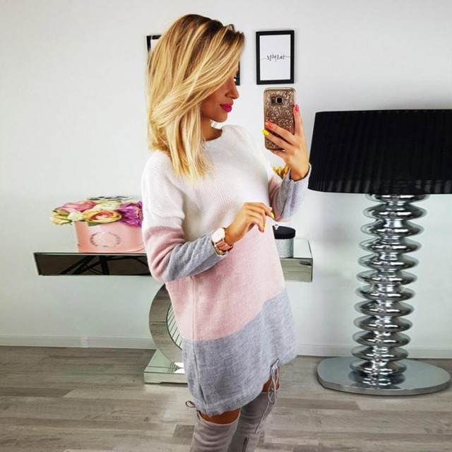 Lace-Up Sheath Sweater Dress Contrast Color Striped Women Spring Autumn Winter Long Sleeve Mini Knitted Boycon Dress EY11