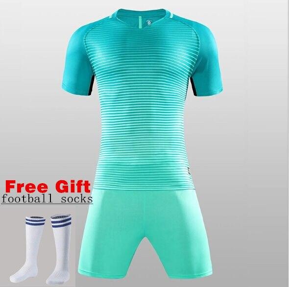 63ff5b9af8c 2018FREE SOCKS Custom Team Kids and Adult Breathable Soccer Set Soccer  Jerseys Uniforms Children Football Kit Shirt Tracksuit