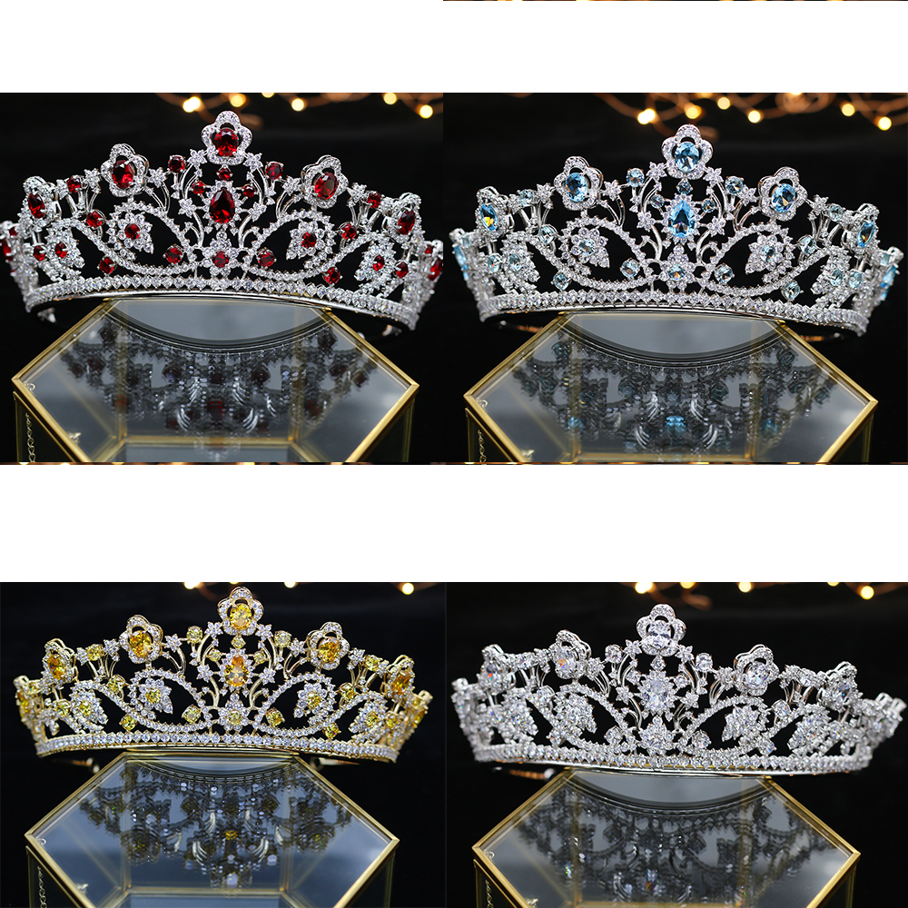 Deluxe Zirconium stone Crystal Crown Princess Queen Parade ball Silver Blue gold red Thiago headwear accessories