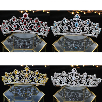 Deluxe Zirconium stone Crystal Crown Princess Queen Parade ball Silver Blue gold red Thiago headwear accessories wedding Hair