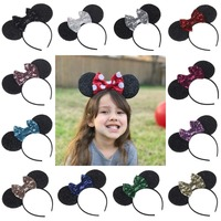 YUZEHD 10PC Lot Children Hair Accessories Minnie Mouse Ears Hairbands Sequin Bowknot Headband For Girls Mouse