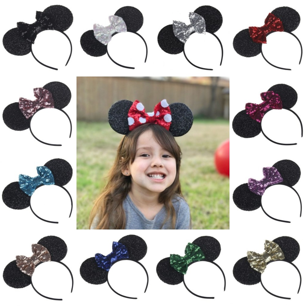 YUZEHD 10PC/lot Children Hair Accessories Minnie Mouse Ears Hairbands Sequin Bowknot Headband for Girls mouse headband sequin bow minnie mouse ears headband for kids shiny glitter hair bow hairbands girls photography props hair accessories