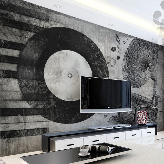 Online Shop Custom 3d muurschildering zwart wit muziek instrument ...