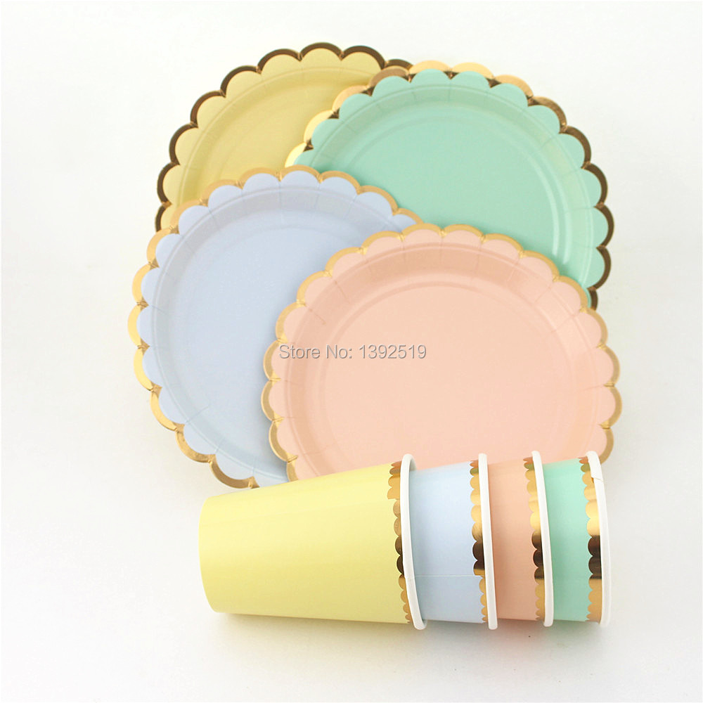 Our Paper Items are perfect to use for all Occassions & Free Ship scallop edge 7inch Paper Plates 9oz Paper Cups Mint/peach ...