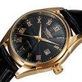 Mens Relógios Top Marca de Luxo Vestido de Alça de Couro Mecânico Automático auto Vento Homens Analog Watch Auto Data For Man Ouro relógios
