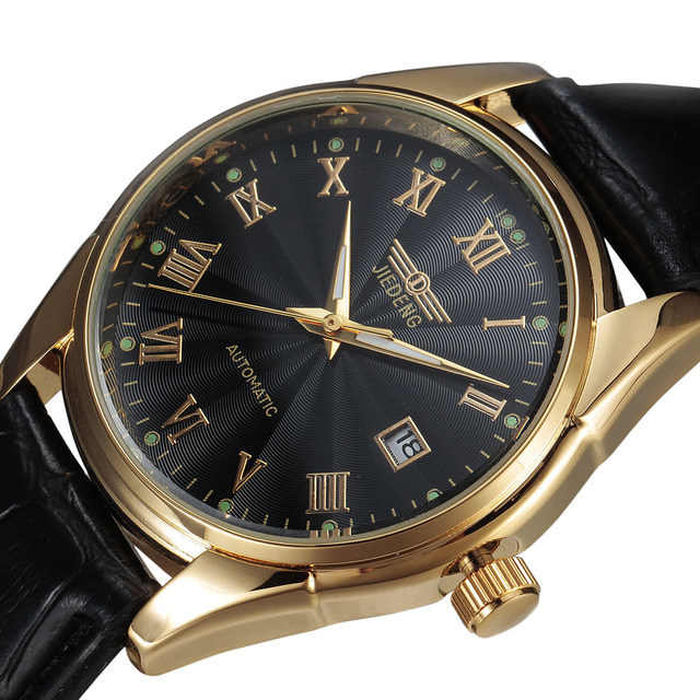 Mens Watches Top Brand Luxury Leather Strap Dress Automatic Mechanical Self Wind Men Analog Gold Watch Auto Date For Man Watches