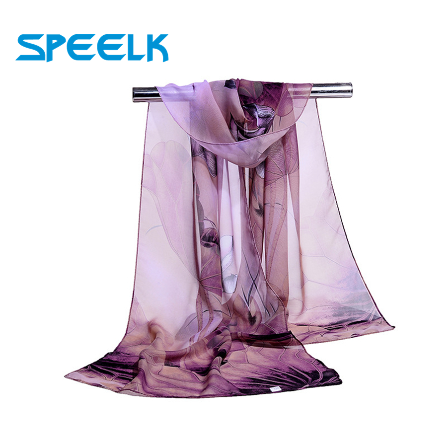 Lotus Chiffon Scarf Women's Print Summer Sunscreen Scarves Fashion Thin Shawls And Wraps Women Flower Hijab Stole Wholesale